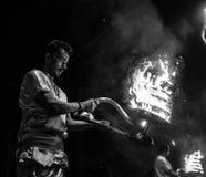 Hindu priests perform Agni Pooja Sanskrit: Worship of Fire on Dashashwamedh Ghat - main and oldest ghat of Varanasi Royalty Free Stock Photos