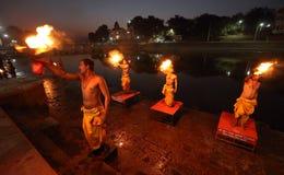 Hindu priests performing an aarti in Ujjain, India Royalty Free Stock Image