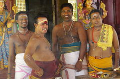 Hindu priests. In a temple in Malaysia, Asia stock photo