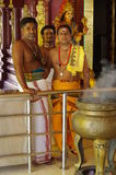 Hindu priests. In a temple in Malaysia, Asia stock images