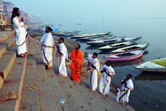 Hindu Priests at Varanasi Stock Photo