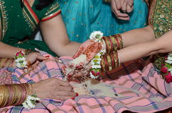 Hindu religious ceremony. A Hindu family attends a ceremony for their unborn baby Royalty Free Stock Images