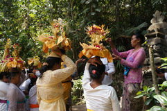 Hindu religious ritual. Hindu woman performing a religious ritual preparation in Bali, Indonesia Stock Photos