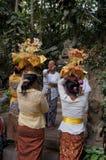 Hindu religious ritual. Hindu woman performing a religious ritual preparation in Bali, Indonesia Royalty Free Stock Image
