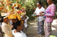 Hindu religious ritual. Hindu woman performing a religious ritual preparation in Bali, Indonesia Stock Photography