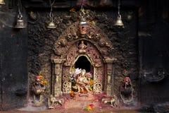 Hindu sacred altar. In Bhaktapur, Nepal Stock Photos