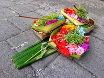 Hindu sacrifices. On the pavement in Ubud, Bali, Indonesia Royalty Free Stock Photos
