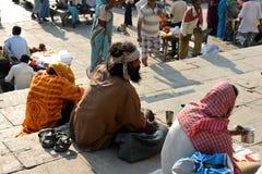 Hindu Sadhu Begging on Ghats Stock Photo