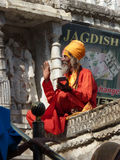 Hindu Sadhu gives blessings Royalty Free Stock Photo