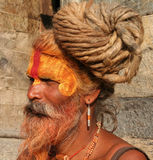 Hindu Sadhu. At the Pashupatinath Temple in Kathmandu, Nepal Royalty Free Stock Photos