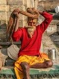 Hindu Sadhu. At the Pashupatinath Temple in Kathmandu, Nepal Stock Photo