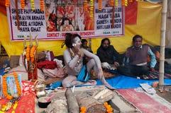 Hindu Sadhu speaking , mobile, Babughat, Kolkata Stock Photos