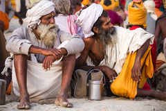Hindu Sadhus at the Kumbha Mela, India. Royalty Free Stock Images