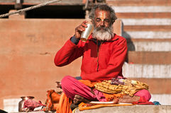 Hindu saint during worship Stock Photo