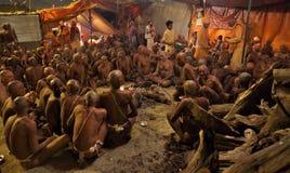 Hindu Sannyasis and pilgrims at Maha Kumbh Mela festival Stock Photo