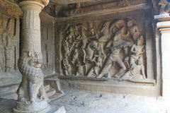 Hindu sculpture art on the walls of caves, Mahabalipuram, India Stock Images