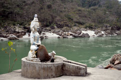 Hindu Sculpture. In Himalaya. Ganga River. Rishikesh Royalty Free Stock Photography
