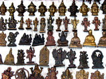 Hindu Sculptures. A background of hindu sculptures for sale in an antique shop in India Royalty Free Stock Photos