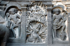 Hindu sculptures Ellora Caves  Royalty Free Stock Photo