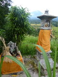 Hindu shrines for a good harvest for the beautiful rice fields of Jatiluwih, Bali, Indonesia. Stock Photo