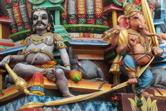 Hindu statues. Paint hindu deities in a temple in Trincomalee (Sri Lanka Royalty Free Stock Image