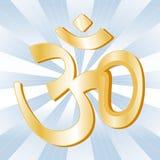 Hindu Symbol. Golden Aumkar symbol of the Hindu faith on a blue sky ray background Royalty Free Stock Photo
