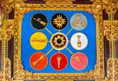 Hindu symbols on Gate of Temple Stock Image