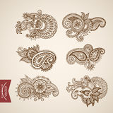 Hindu tattoo pattern monochrome engraving lineart vintage vector Stock Images