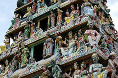 Hindu Temple. Statues on the roof of a hindu temple in Singapore royalty free stock photos