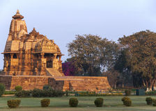 Hindu temple, built by Chandela Rajputs, at Western site in India's Khajuraho. Royalty Free Stock Photos