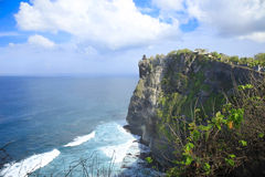 Hindu Temple on Cliffs Ocean Bali Indonesia Stock Photos