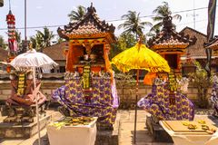 Hindu temple complex houses with traditional umbrellas, Nusa Penida of, Indonesia Stock Photography