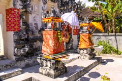 Hindu temple complex houses with traditional umbrellas, Nusa Penida of, Indonesia Royalty Free Stock Photo