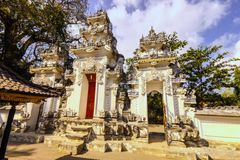 Hindu temple complex with many statues and prayer, Nusa Penida of, Indonesia Stock Photography