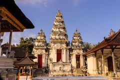 Hindu temple complex with many statues and prayer, Nusa Penida of, Indonesia Stock Image