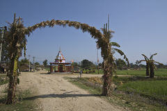 Hindu temple in countryside, Bardia, Nepal Stock Photo