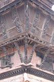 Hindu Temple Detail, Kirtipur, Nepal. This is detail of a corner of a wooden Hindu temple in Kirtipur, Nepal, close to Kathmandu Stock Photography