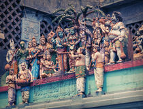 Hindu temple. Figures on the wall of the temple Royalty Free Stock Image