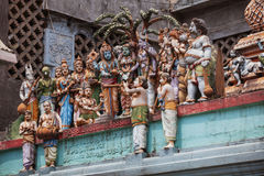 Hindu temple. Figures on the wall of the temple Royalty Free Stock Photos