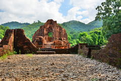 Hindu temple. My Son. Quảng Nam Province. Vietnam. My Son is a cluster of abandoned and partially ruined Hindu temples constructed between the 4th and the stock image