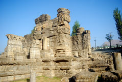 Hindu temple ruins, Avantipur, Kashmir, India. Avantipur was founded by king Avantivarman who reigned from AD 855 - 883 situated at a distance of 18 miles from Stock Photos