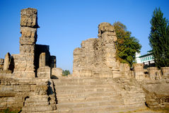 Hindu temple ruins, Avantipur, Kashmir, India. Avantipur was founded by king Avantivarman who reigned from AD 855 - 883 situated at a distance of 18 miles from Royalty Free Stock Photography