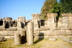 Hindu temple ruins, Avantipur, Kashmir, India. Avantipur was founded by king Avantivarman who reigned from AD 855 - 883 situated at a distance of 18 miles from Royalty Free Stock Photos
