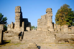 Hindu temple ruins, Avantipur, Kashmir, India. Avantipur was founded by king Avantivarman who reigned from AD 855 - 883 situated at a distance of 18 miles from Stock Images