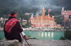 Hindu temple by the side of Ganga river in Himalaia. royalty free stock photo