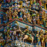 Hindu temple in singapore. Crowded with statues Stock Photo