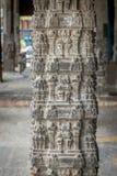 Hindu temple stone pillar Kanchipuram India. Ekambareshwarar temple Kanchipuram, Tamil Nadu, India, Asia royalty free stock photo