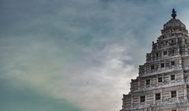 Hindu temple structure on a blue sky background stock image