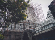 Hindu Temple Suchindram. This is a temple dedicated to the three chief Hindu Gods, Shiva, Vishnu and Brahma.  This 134 feet temple of Suchindram is architecture Stock Image