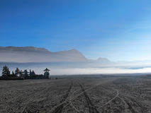 Temple on the Bromo volcano stock images